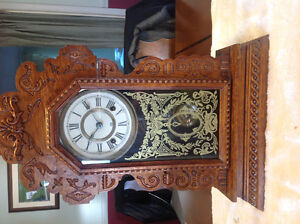 Ansonia antique ornate gingerbread Oak mantel clock