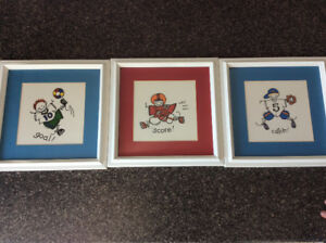 3 wall pictures for a kids room