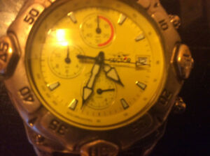 Sector chronographic yellow dial watch stainless steel 5atm 165