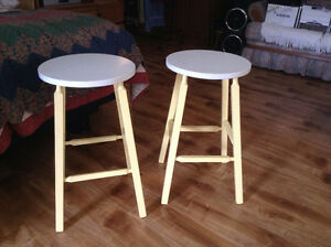 TWO YELLOW BAR STOOLS