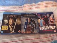 Blu rays: The Hobbit, X-Men, Doctor Who
