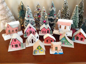 11 VINTAGE PUTZ CHRISTMAS HOUSES 1950's-'60's