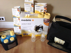 Medela in-style double pump, manual pump, good of accessories