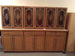 3 PC OAK CABINETS WITH LONG LAMINATED COUNTER