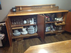 Solid Oak Antique Hutch/Buffet