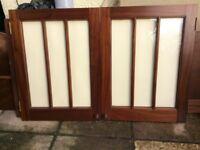 Pair MAHOGANY Clear Glazed DOORS - Solid Mahogany. Superb Quality & Condition.