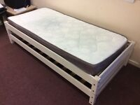 Price negotiable! Single mattress plus stackable bed frames that can make 1 or 2 bed frames