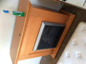 Electric fireplace insert with wood surrounding heater