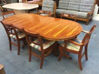 Highly polished Yew Dining Table and 6 Chairs