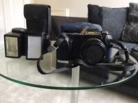 Canon T50 35mm camera including flash & cases