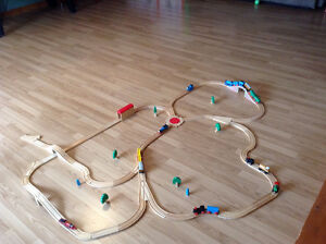 Wooden Train Track set with several trains