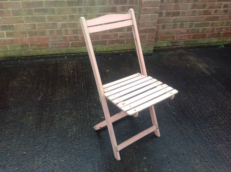 Vintage Shabby Chic Folding Wooden Garden Chair Baby Pink