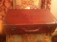 1940's Capitol brand brown leather suitcase
