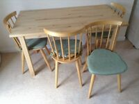 IKEA Norden (solid wood?) dining table, plus 4 Ikea chairs