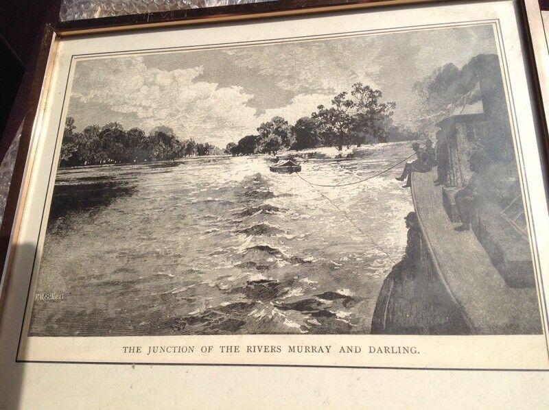 Three framed prints of old Australian scenes