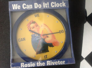 Nostalgia Rosie the Riveter CLOCK NEW in package Retro 50's