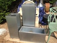 Three zinc galvanised silver large planters