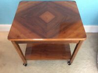 ANTIQUE GEORGIAN STYLE SIDE TABLE - TROLLY ON CASTERS SATINWOOD INLAY