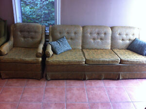 Clean and comfy green sofa and chair