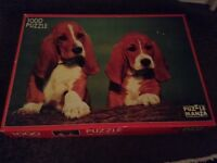 Jigsaw puzzle of 2 Bassett hound puppies