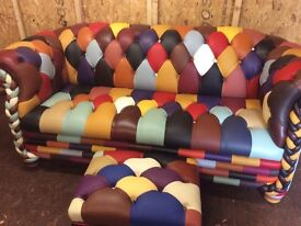 CHESTERFIELD SOFA AND STOOL REAL LEATHER