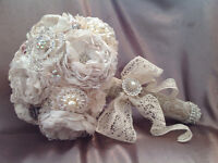 Brooch,satin,lace,burlap custom bouquet to fit your budget