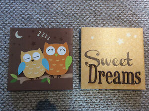 Cute canvas pictures - owls and sweet dreams