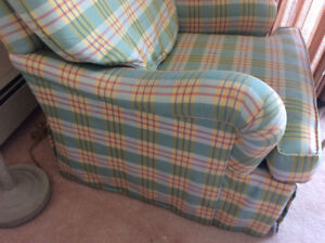 Two down filled custom arm chairs