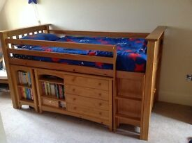 Julian Bowen solid pine children's cabin/mid sleeper bed