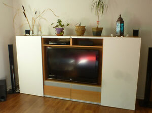 Ikea TV cabinet / bookcase with sliding doors - $350 obo