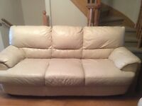 Leather couch and loveseat- cream color