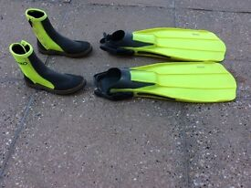 Professional Scuba diving fins and boots