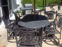 Patio Table and  Swivel Chair Set