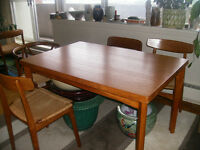 Antique Danish teak dining room table and chairs