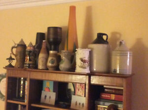 Antiques, Hoosier,crocks,sriens,West German Vases,bottles,scale