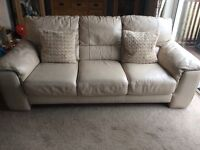 2 x Large 3 Seater Cream Leather Sofas £100 for both!
