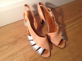 Brand New Chie Mahara peach/silver leather sandals. Size 38