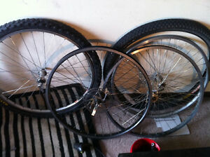 Extensive mountain bike rims and numerous associated bike parts