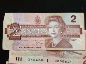 C-lot de 13 billets de 2$ papier 1986