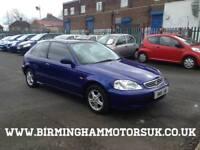 2001 (Y Reg) Honda Civic 1.4i SE AUTOMATIC 3DR Hatchback BLUE + LOW MILE
