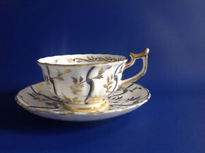 Royal Chelsea Cup and Saucer Gold Cobalt Blue Hand Painted Engla Kawartha Lakes Peterborough Area image 1
