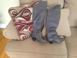 Grey leather above knee Aldo boots
