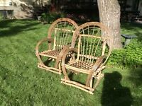 Willow chairs, bird feeders