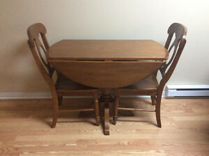 Oak breakfast nook with two chairs!