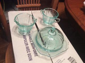 Aqua Pressed Glass set