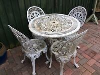 Aluminium Metal Garden Table and 4 Matching Chairs