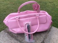 Pink leather M&S hold-all overnight/sports bag