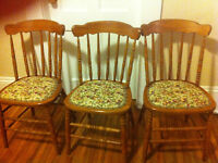 3 country style wooden chairs with carved padded seats $20 each