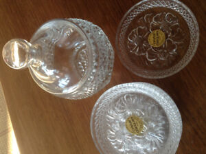 Crystal candy dish and 6 glass coasters. pretty flower design