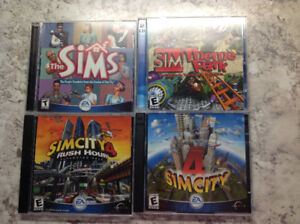The Sims, Sim City 4, Sim City 4: Rush Hour, Sim City Theme Park